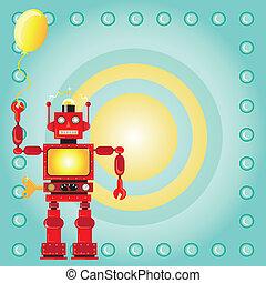 Una invitación de fiesta de cumpleaños robot