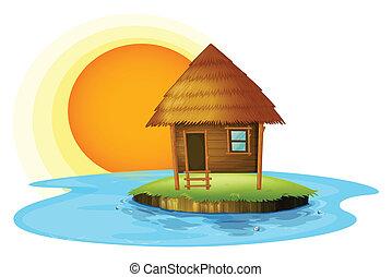 Una isla con una cabaña de nipa