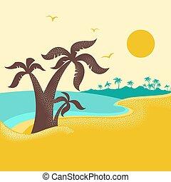 Una isla tropical con palmeras. El cartel de Vector Natural con olas azules