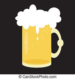 Una jarra de cerveza de fondo negro