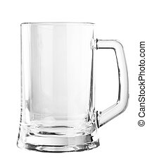 Una jarra de cerveza vacía aislada en fondo blanco