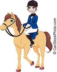 Una jinete ecuestre con caballo