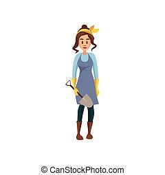 Una joven agricultora de pie con pala, jardinero en el trabajo vector de dibujo animado Illustración