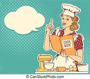 Una joven chef con ropa de estilo retro cocinando y sosteniendo un libro de cocina en la cocina. Antecedentes antiguos de Vector