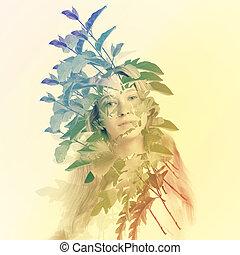 Una joven con hojas abstractas