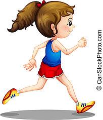 Una joven corriendo