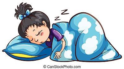 Una joven durmiendo