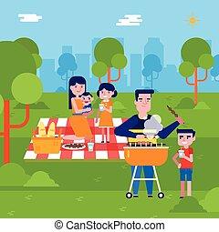 Una joven familia caucásica haciendo un picnic en el parque