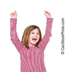 Una joven feliz riendo con brazos levantados