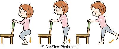 Una joven haciendo ejercicio con una silla