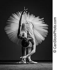 Una joven hermosa bailarina posando en el estudio