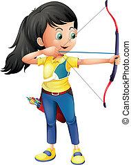 Una joven jugando al tiro con arco