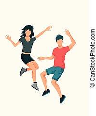 Una joven pareja saltando alto