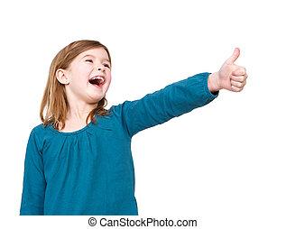 Una joven riendo con los pulgares arriba