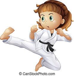Una joven valiente haciendo karate