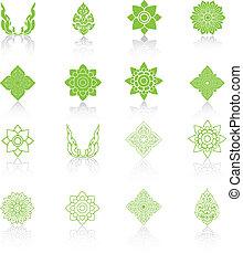 Una línea de arte tailandés, ilustración vectorial de iconos.