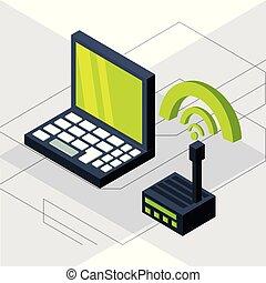 Una laptop isométrica con conexión wifi