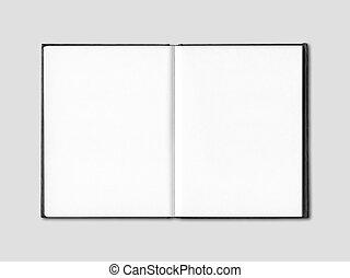 Una libreta abierta aislada en gris