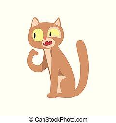 Una linda caricatura de dibujos animados de gatos vector de ilustración en un fondo blanco
