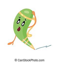 Una linda caricatura desconcertada con lápiz verde humanoide rasguñando su vector de la ilustración