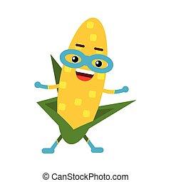 Una linda caricatura sonriente superhéroe de la mazorca de maíz enmascarado, colorido vector vegetal de la ilustración