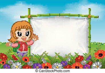 Una linda chica junto a un marco hecho de bambú en el jardín