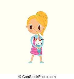 Una linda chica rubia bebiendo batido de leche con un vector de gota en un fondo blanco
