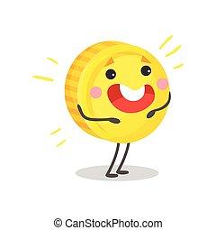 Una linda moneda sonriente de oro con carácter humanizado, dinero y concepto de dibujo animado vector de ilustración