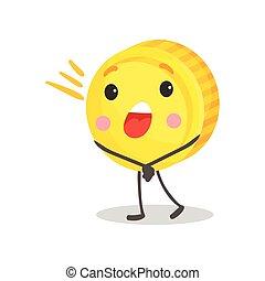 Una linda moneda sonriente humanizada con carácter, dinero y concepto de dibujo animado vector de ilustración