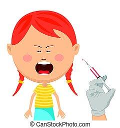 Una linda niña con vacunas llorando