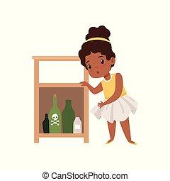 Una linda niña jugando con sustancias peligrosas, un niño en peligrosa situación vector de ilustración en un fondo blanco