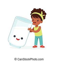 Una linda niña negra y un divertido vaso de leche con cara humana sonriente tocando y teniendo divertidos y saludables dibujos animados de dibujos animados vector de ilustración