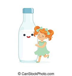 Una linda niña pelirroja y una divertida botella de leche con cara humana sonriente jugando y teniendo divertidos y saludables niños dibujos animados vector de Ilustración