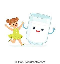 Una linda niña y un gracioso vaso de leche con cara humana sonriente jugando y pasándolo bien, niños sanos dibujos animados vector de ilustración