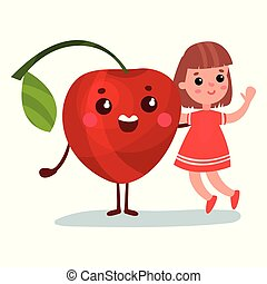 Una linda niñita divirtiéndose con un personaje de cereza gigante sonriente, mejores amigas, comida saludable para niños vectores de dibujos animados