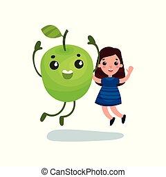 Una linda niñita divirtiéndose con un personaje de manzana verde gigante, mejores amigos, comida saludable para niños vector de Ilustración