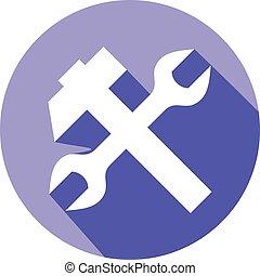 Una llave inglesa y un icono plano