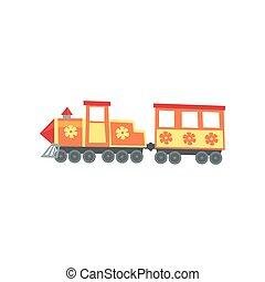 Una locomotora de trenes de feria de parques. El icono del parque de diversiones. Elemento de entretenimiento de dibujos animados. Atracción infantil. Diseño de vectores planos para publicidad o folleto.