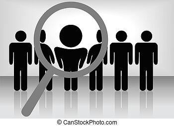 Una lupa de aumento encuentra, selecciona o inspecciona a una persona en una línea de gente: búsqueda de empleo, reconocimiento, promoción, alquiler, etc