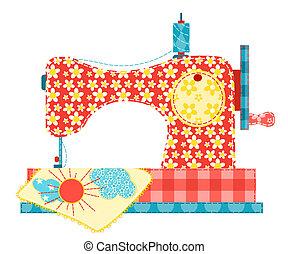Una máquina de coser en blanco.