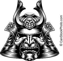 Una máscara de samurai al estilo leñador