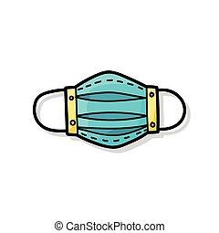 Una máscara médica color garabato