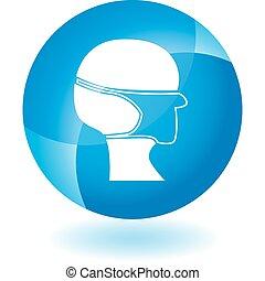 Una máscara quirúrgica un icono azul transparente