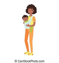 Una madre joven con un hijo en un cabestrillo, ilustración de la serie de familias felices