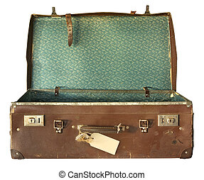 Una maleta antigua, abierta