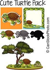 Una manada de lindas tortugas