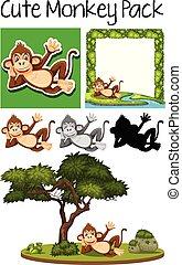 Una manada de monos lindos