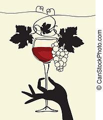 Una mano sosteniendo un vaso de vino con gr