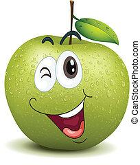 Una manzana sonriente