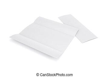 Una maqueta blanca de trinquete doblado, abierta y cerrada aislada en fondo blanco. Libreta de plantilla vacía para tu diseño. 3D.